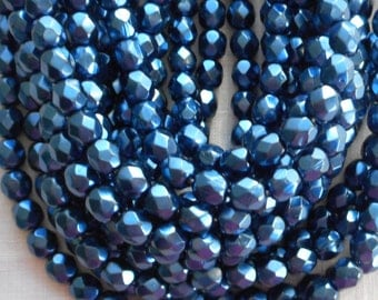 25 6mm Montana Blue Czech Glass Pearl beads, firepolished faceted round glass beads C6625