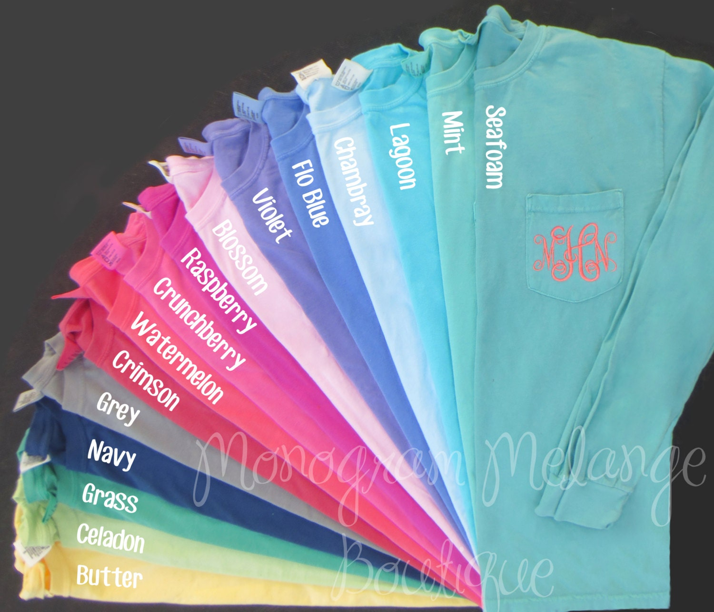 monogram long sleeve comfort colors shirt women u0026 39 s