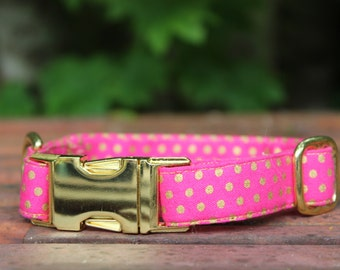 Magenta with Gold Dots Dog Collar
