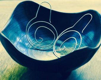 Sterling Silver Hammered Swirl Hoop Earrings-Spiral Hoop Earrings-Organic Hoop Earrings-EmmaLeah Designs