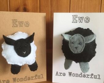 Handmade 'Ewe Are Wonderful' Card with Felt Sheep keyring