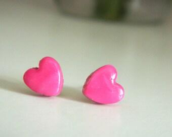 Polymer Clay Pink Heart Earrings
