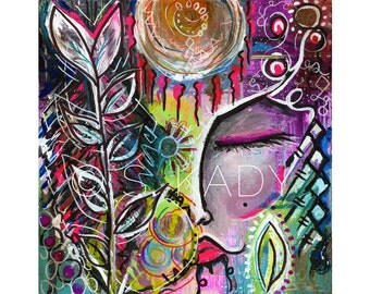 Goddess, mother nature, art print, Expression Series, Contemporary Art, colorful art, surrealism, art, painting, wall decor, nature