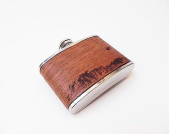 Full Moon Rise Wood Flask :  3oz Mini Flask Moon - mountains, Waterproof, hip flask, pocket flask, moon rise, full moon
