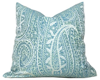 "Kravet Blue Green Cream Paisley Floral Pattern Pillow Cushion Zipper Cover, Made to fit Lumbar 16"" 18"" 20"" 22"" 24"""