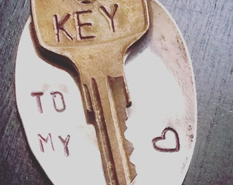 "UpCycled Spoon And Key Necklace, ""Key To My Heart"""