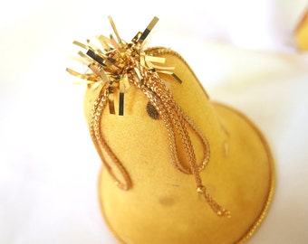 2 Vintage Gold Flocked Plastic Christmas Holiday Bell Ornaments