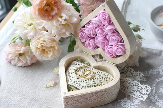 de coeur en bois porte alliances mariage champêtre porte alliance en ...