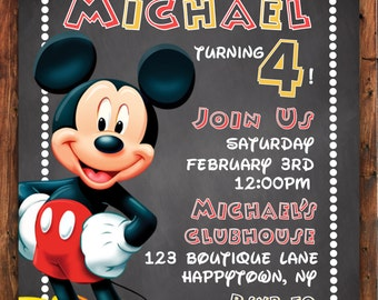 Mickey Mouse Invitation, Mickey Mouse Invite, Disney Mickey Mouse Birthday Party, Chalkboard Invitation, Mickey Mouse Clubhouse Invite