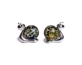 Green Amber and Silver Snail Stud Earrings