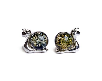 Henryka Green Amber and Silver Snail Stud Earrings