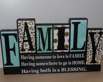 Family wood block, Family block with quote/ names, wooden sign, Our family members blocks, Our family sign, Family name blocks,
