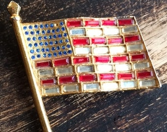 Pin American Flag Waving