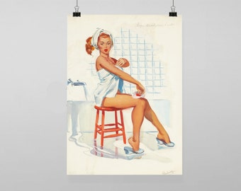 Pin Up Girl Sexy Bathroom Vintage Reproduction Wall Art Decro Decor Poster Print Any Size