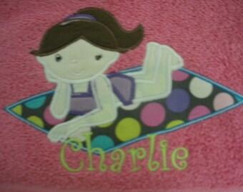 Girls appliqued beach towel