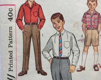 Simplicity 3610 boys shirt and pants or shorts size 8 vintage 1960's sewing pattern