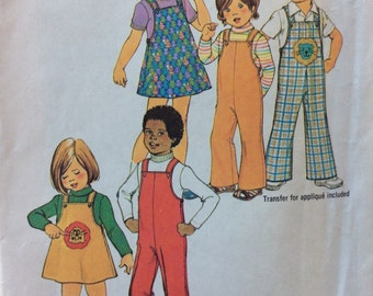 Simplicity 7367 child's jumper, overall & top w/applique transfer size 5  vintage 1970's sewing pattern  Uncut  Factory folds