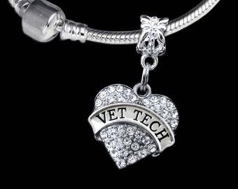 Vet tech charm Vet tech gift Vet gift Vet tech jewelry Fits European style bracelet