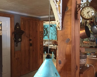 Turquoise or oil rubbed bronze industrial pendant light