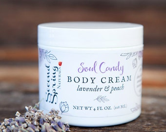 Vegan body cream -  lavender peach natural body cream  - Vegan Body Cream - Shea Butter Cream  - gift for mom