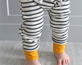 3 Cuff Colors!!! - Natural + Grey Stripe with Mint, Peach or Mustard cuff