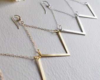 V Earrings, Chevron Chandelier Earrings, V Shaped Earrings, Geometric Gold Earrings, Silver Geometric Earrings, V Shapped Chandelier Earring