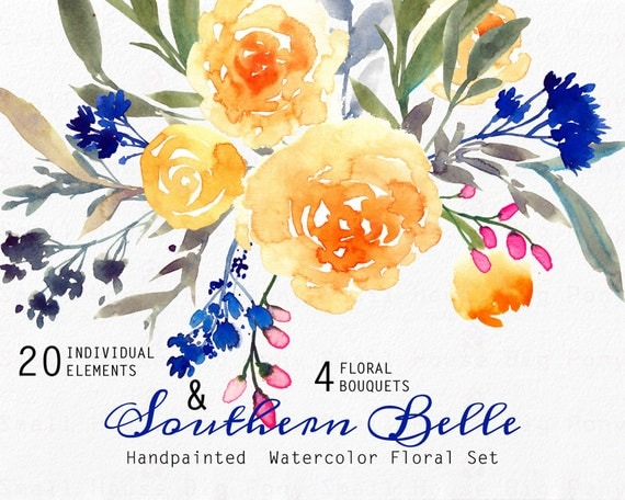 Digital Clipart- Watercolor Flower Clipart, yellow roses Clip art,  wedding flowers clip art- Southern Belle Yellow Roses