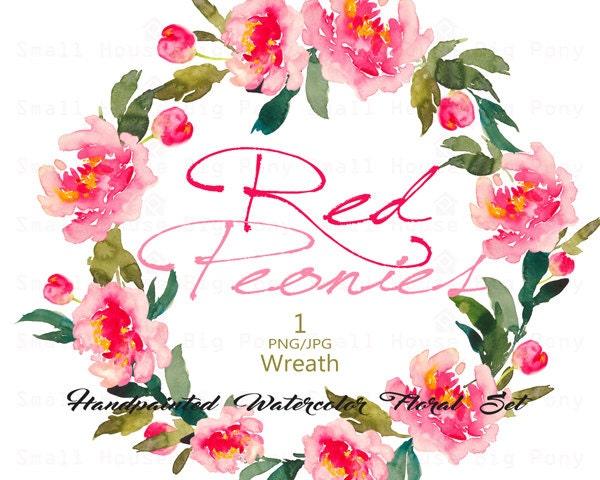 Digital Clipart Watercolor Flower Peonies Clip Art Floral Bouquet Wedding Flowers Red Wreath