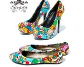 Mario Party Shoes- Choose Your Style- Wedding- Geek- Bride- Prom- Gift- Comic Book- Cosplay- Christmas- Custom Shoes- gamer- retro
