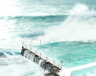 Beach Print, Bondi Beach, Wall Art Print, Beach Photography, Coastal Art, Wall Art Coastal, Seascape Beach Decor, Seascape Art Decor