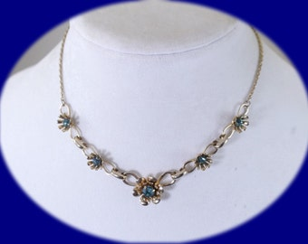 Vintage Necklace Rhinestone Necklace Blue Rhinestone Necklace Wedding Necklace Costume Jewelry Vintage Jewelry Boho Necklace Bridal Necklace