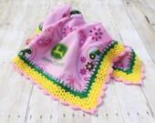 Pink John Deere Fleece Blanket, Crochet Fleece Blanket, Pink Fleece Blanket, John Deere Blanket, Pink Fleece Throw, Crochet Edging Blanket