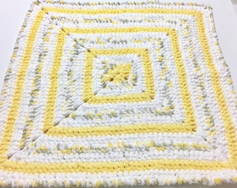 Crochet Baby Blanket, Yellow Baby Blanket, Newborn Blanket, Photo Prop, Grey Baby Blanket, Baby Shower Gift, Ready to Ship, Gender Neutral