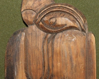 Vintage Hand Carved Wood Abstract Couple Sculpture