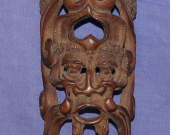 Vintage Hand Carved Wood Wall Plaque Mask Face