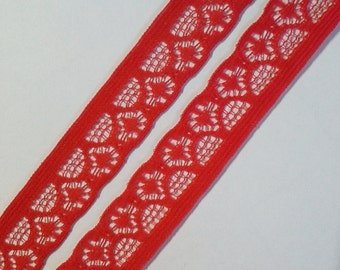 Vintage, red scalloped lace trim- by the yard