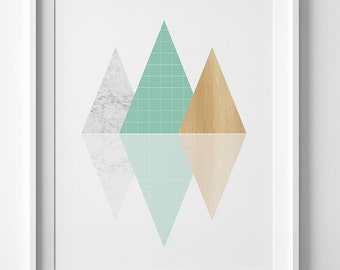 Printable art, geometric print, digital print, geometric wall art, mint print, abstract print, geometric printable poster, abstract art