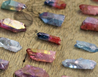 CLEARANCE , DEFECTS aura quartz point lot, aura crystal, rose aura quartz, ruby aura quartz, blue aura quartz, hybrid aura quartz