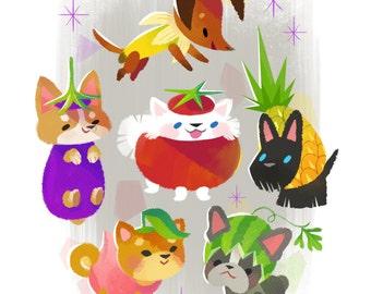 Dog Fruits - Art Print