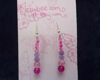 Pink/ Lilac Glass Drop Earrings