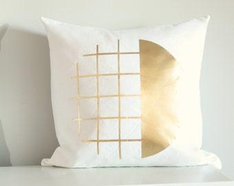Gold Scandi Pillow Cover, Geometric Cushion, Gold & White, Throw Pillow, Accent Pillow, Monochrome Decor, Scandinavian Design White Pillow