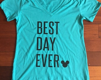 "Disney ""Best Day Ever"" Custom V-Neck Top"