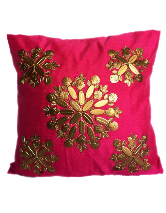 Pink Pillow With Gold Embellishments Pink by TheWhitePetalsDecor