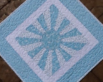 """Quilted square dresden table runner table topper centerpiece doll quilt.  Approx. 23"""" square"""