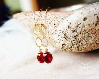 Red Crystal Earrings. Dangle Earrings. Anniversary Gift. Elegant Jewelry. Swarovski Crystal. Gold Chain Earrings. Bridesmaid Earrings.