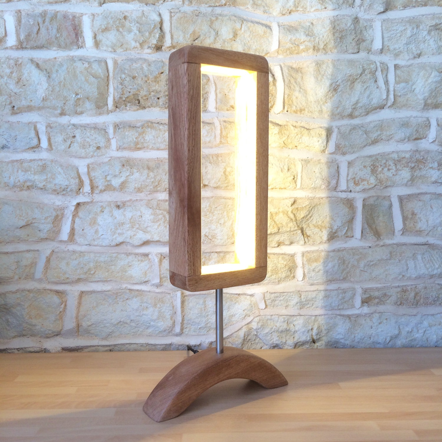 Hand Crafted Designer Table Lamp Wooden Desk Light Unusual