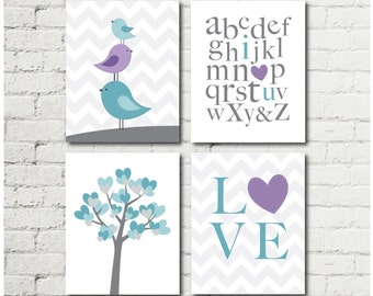Purple and Teal Girl Nursery - Woodland Decor - Bird Nursery Decor - Girls Room Wall Art - Nursery Decor - Girls Wall Art - Digital Download