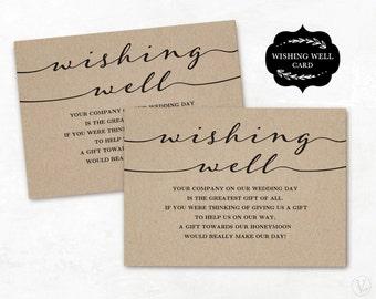 "Wishing Well Card Template, Printable Wishing Well Card, DIY Wishing Well Cards, Editable Text, 3.5""x5"", WW003"