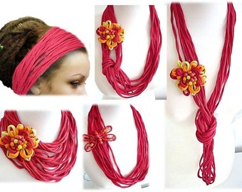 Red Scarf Infinity Necklace Handmade Girls Accesories Scarf Necklace Multilayer Noodle Scarf Belt Dreadlock Headband Hair Wrap Flower