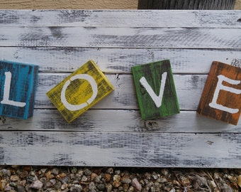 Rustic distressed LOVE wood sign shabby chic